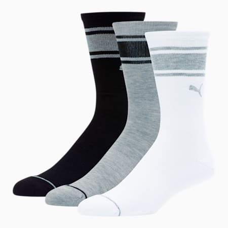 Men's Crew Socks [3 Pack], BLACK / MULTI, small